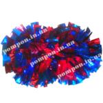 Помпоны для черлидинга – голубой и красный (медуза) цвета