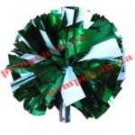 Помпоны для черлидинга – шар зеленый с вставками белого цвета